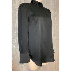 Ann Taylor Silky Black Blouse XS Petite NWT